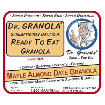maple almond date granola label